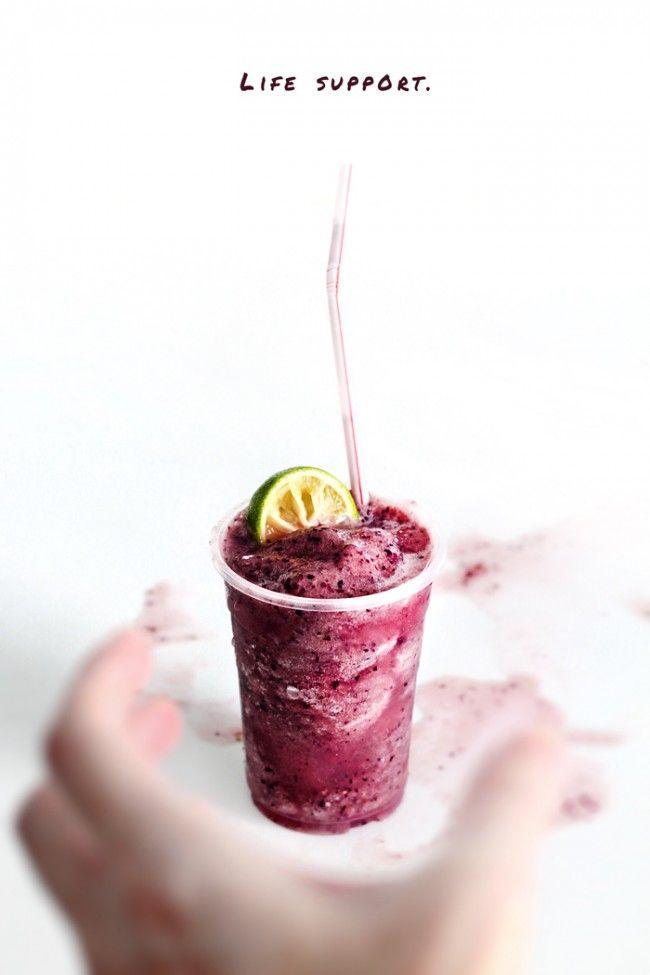 Frozen Grape Daiquiri - Frozen Seedless Black Grapes or Concord Grapes, Grape-Flavoured Soda or Soda Water, Dark Rum, Powdered Sugar, Lemon Juice, Lime Juice, Nutmeg.
