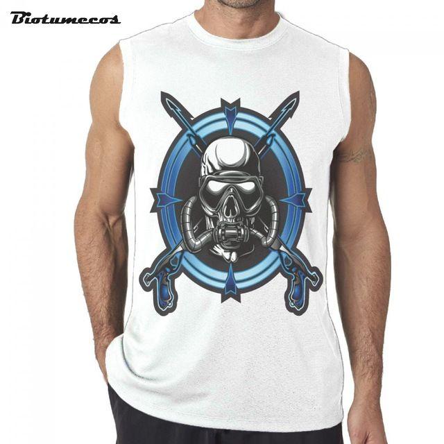 $14.56 Men Sleeveless T-shirt Tank Tops Undershirts Skull Wear Equipment Two Submachine Gun Printed Mens Summer Vest MWK200