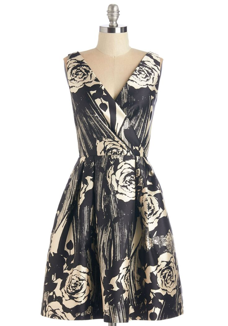 Dinner Date Darling Dress - Black, White, Woven, Floral, Party, Cocktail, Fit & Flare, Sleeveless, V Neck, Mid-length