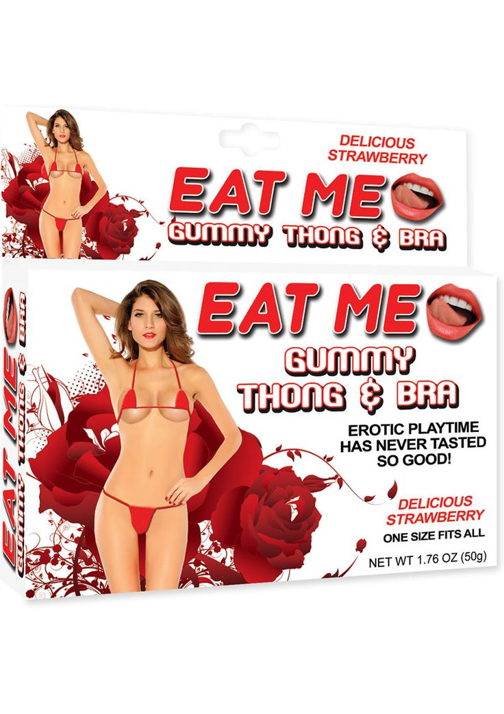 Buy Eat Me Gummy Thong And Bra Strawberry Red One Size Fits All online cheap. SALE! $14.99