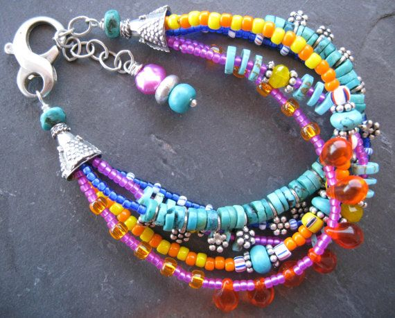 NEW+Multi+Strand+Beaded+Bracelet+Colorful+Boho+by+sunrisetreasures