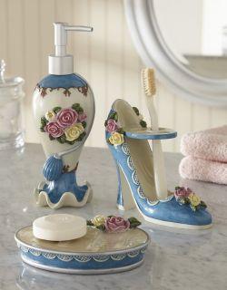Victorian Bathroom Theme Decor 3 PC Victorian Roses Blue Bath