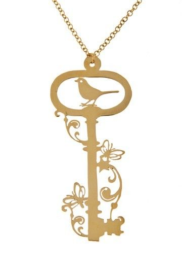 Piyamahorn, a necklace in brass by JohannaN! #nordicdesigncollective #piyamahorn #johannan #thailand #necklace #jewelry #brass #key #bird #flower #floral #saw #chain #accessory #birds #girlsname