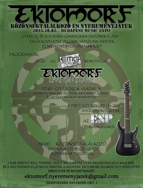 Október 3-án EKTOMORF közönségtalálkozó a Budapest Music Expo-n! http://rockerek.hu/ektomorf_kozonsegtalalkozo_oktober_3an_a_budapest_music_expon.html