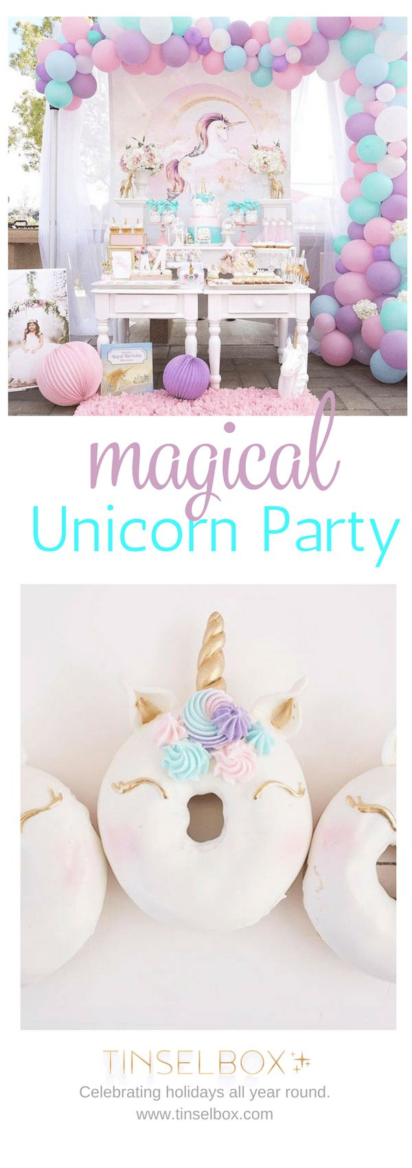 Magical unicorn party in purple, blue and gold. Amazing desserts and decorations