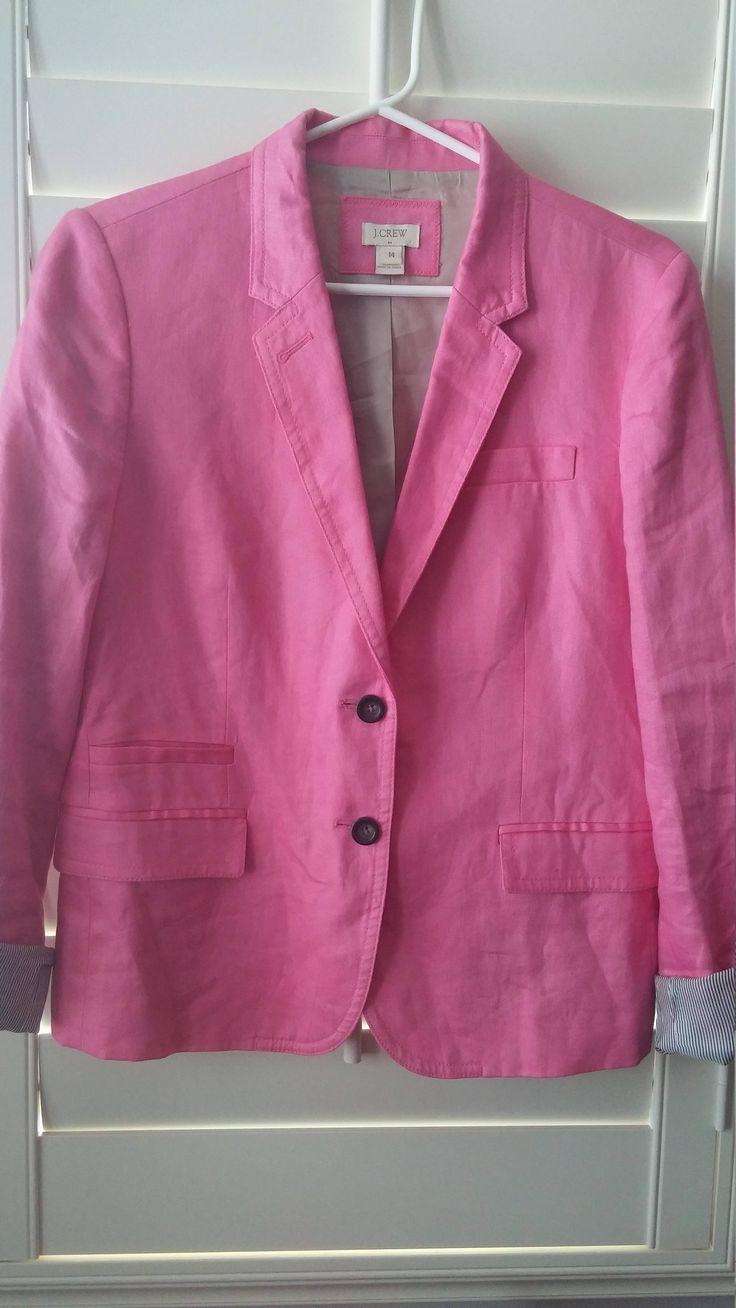 Women's Pink 100% Cotton Linen Jacket from J. Crew Vintage Retro Fashion Light Jacket Long Sleeved Tailored Blazer Fully Lined size 14 by FemmeFatalFashion on Etsy