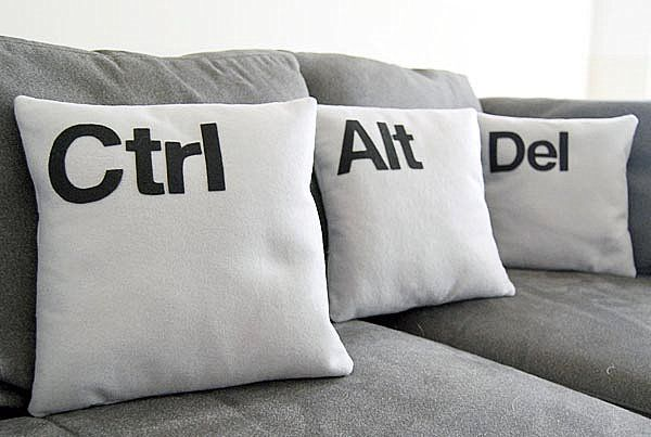 Ctrl-Alt-Del pillow set - perfect for the techie geek in your life