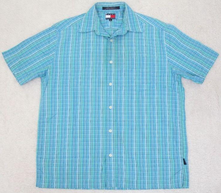 Tommy Hilfiger Blue Green Dress Shirt Small Short Sleeve Cotton Pocket Mens Man #TommyHilfiger #ButtonFront