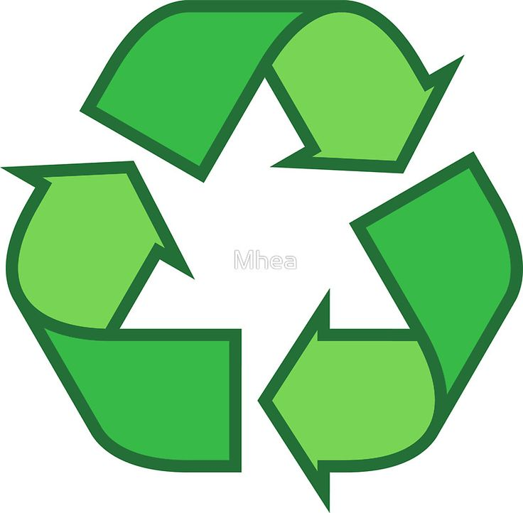 Recycling symbol stickers and tote bags, three shades of green