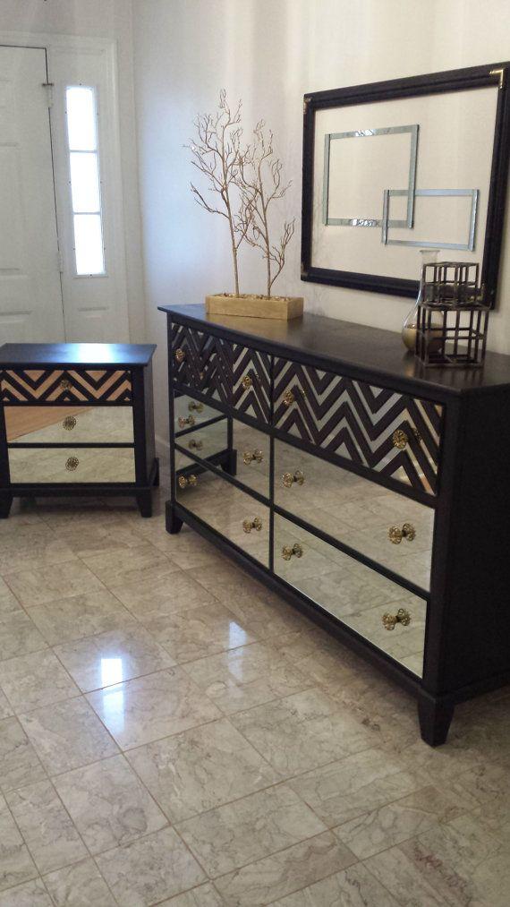 Mirrored Bedroom Dresser Set Black with Chevron Pattern, 6 drawer dresser, 3 drawer nightstand in Annie Sloan Graphite
