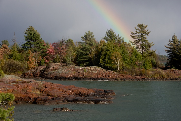 Killarney after the Storm, Rainbow following intense rainfall, whilst hiking Chikanishing Trail, Killarney Provincial Park, Ontario