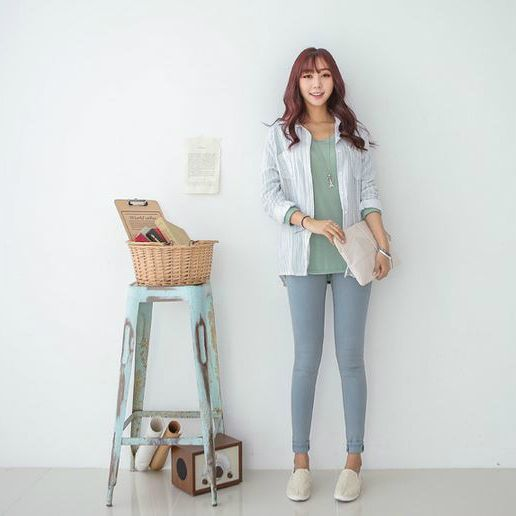 Korea Woman Big size clothing shop. [Jstyle] oil Mitt Denim Jeans / Size : 25-38 / Price : 33.45 USD #dailylook #OOTD #JSTYLE #plussize #loosefit #bottom #pants #jeans #skinnypants