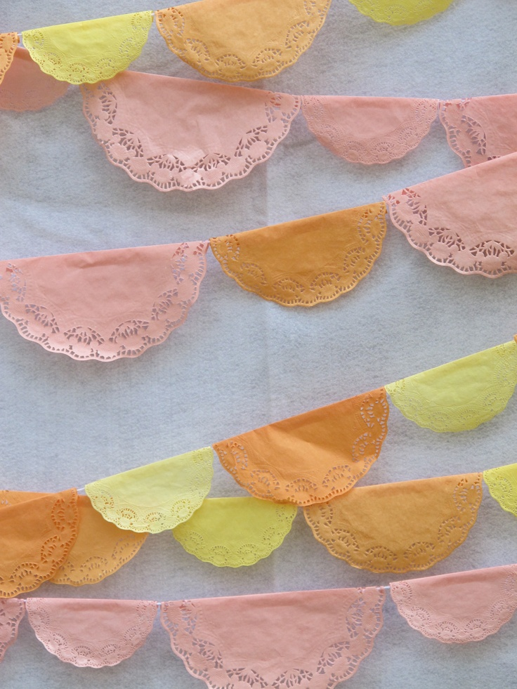 diy lace doily banner - cute for a kids tea party