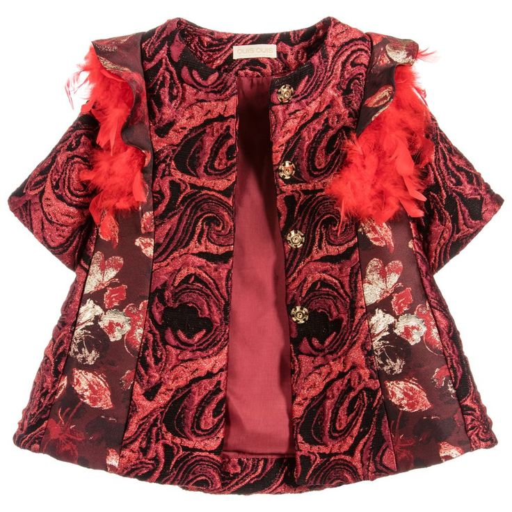 Quis Quis - Girls Red Silk Brocade Coat | Childrensalon