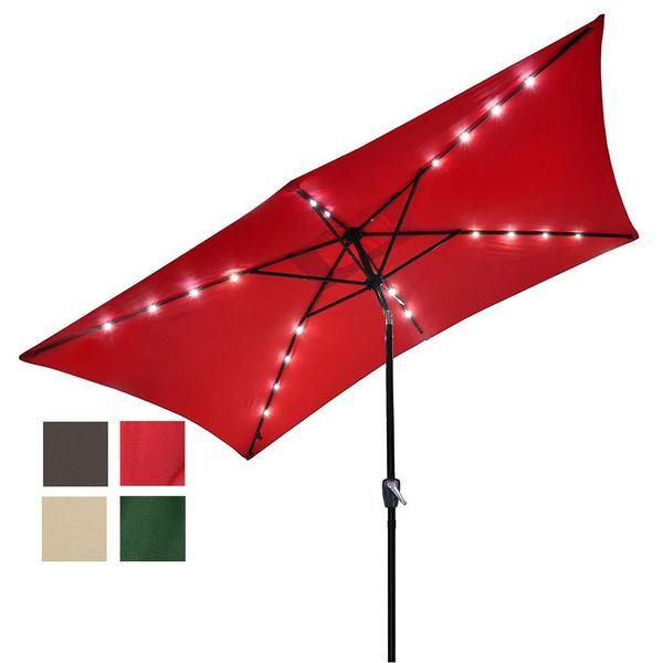 Thelashop Rectangular 10 Foot Patio Umbrella With Solar Lights Patio Umbrella Solar Lights Solar Powered Led Lights