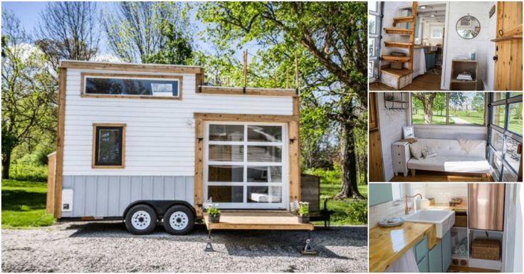 This just may be one of our favorite tiny houses that we've seen and it just so happens to be for sale at a great price in Indiana! This 200 square foot home is exquisite with a trendy style and unexpected touches like a rooftop deck and a copper refrigerator that is definitely an attention-grabber.
