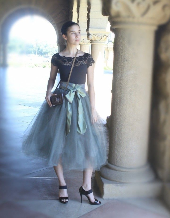 Grey tulle tutu skirt for women--lined in black satin with black satin waist and silky sash.. $185.00, via Etsy.