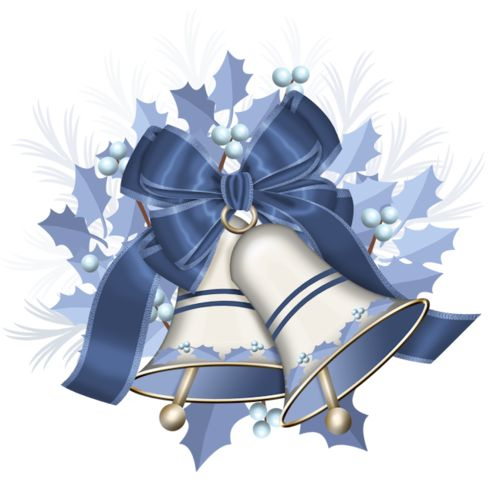 CHRISTMAS SILVER AND BLUE BELLS WITH BLUE BOW CLIP ART
