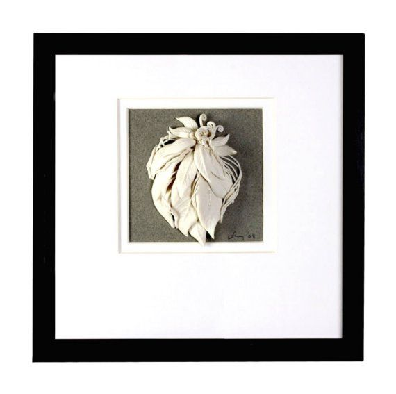 Ceramic art 3d  White Pottery Leaf Vine  White by WhiteEarthStudio, $120.00