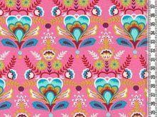 Flora: bloemen en ornamenten op roze tricot - kleurenmix