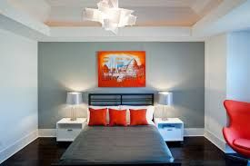 Image result for grey orange bedroom