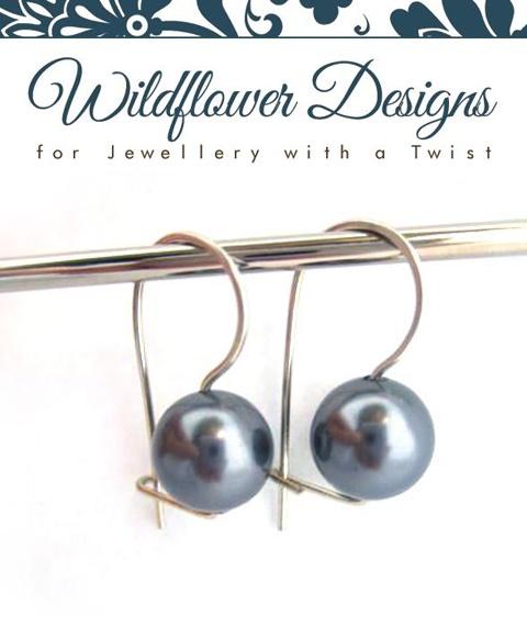 Dark Grey Swarovski Pearl Earrings    http://www.wildflowerdesigns.co.nz/