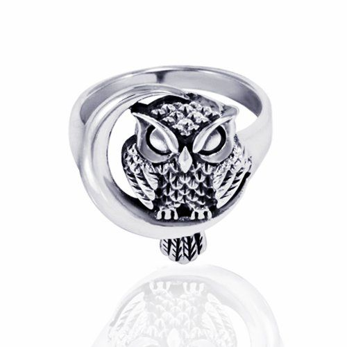 925 Sterling Silver Oxidized Detailed Midnight Owl w/ Crescent Moon Ring Size 6 -Nickel Free: