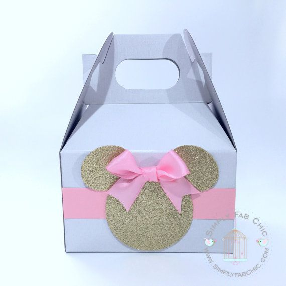 Pink and Gold Minnie Mouse Favor Boxes (Set of 10) | Minnie Gable Box | Pink Minnie Box | Pink Bow | Favor Bag | Birthday Party Treat Boxes