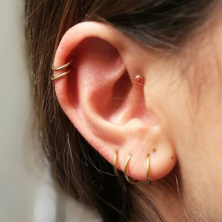 Found this photo in my phone. Double helix piercing with YG sleepers and forward helix piercing with a YG stud on the lovely @brunabear #earparty #earstory #earcandy #goldlover #gold #amsterdam #piercingbyrj @classicinkandmods