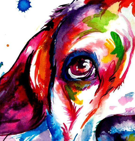 Beagle Hund bunt Kunstdruck Print von Original von WeekdayBest