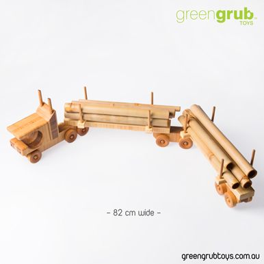 LARGE WOODEN LOG TOY TRUCK with bamboo logs. Excellent for keepsake toy.