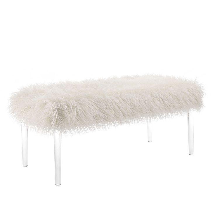 Linon 368320FLK01U Faux Flokati Acrylic Leg Bench White $196