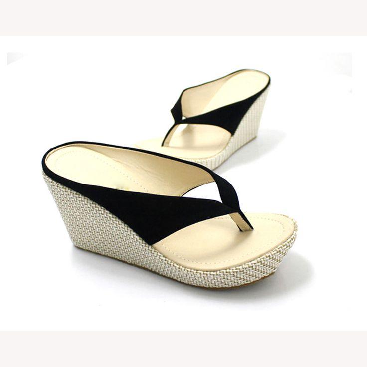 Fashion sbohemia wedges platform platform flip flops sandals and flip,black  sandals size 34-