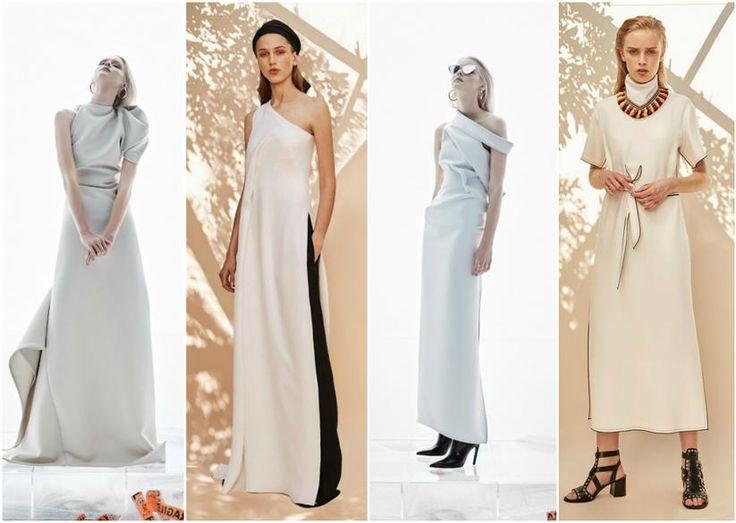 Nude Long Dresses Fashion Week Chic
