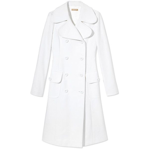 Michael Kors White Creªpe Peacoat ($2,395) ❤ liked on Polyvore featuring outerwear, coats, pea jacket, long sleeve coat, michael kors, white pea coat and double breasted peacoat