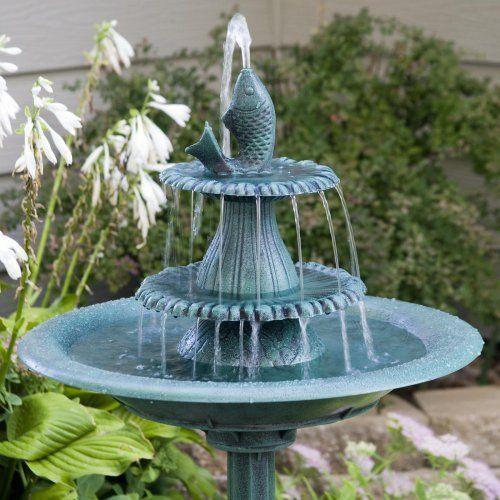 Alpine bird bath fountain with fish www for Outdoor fish fountain