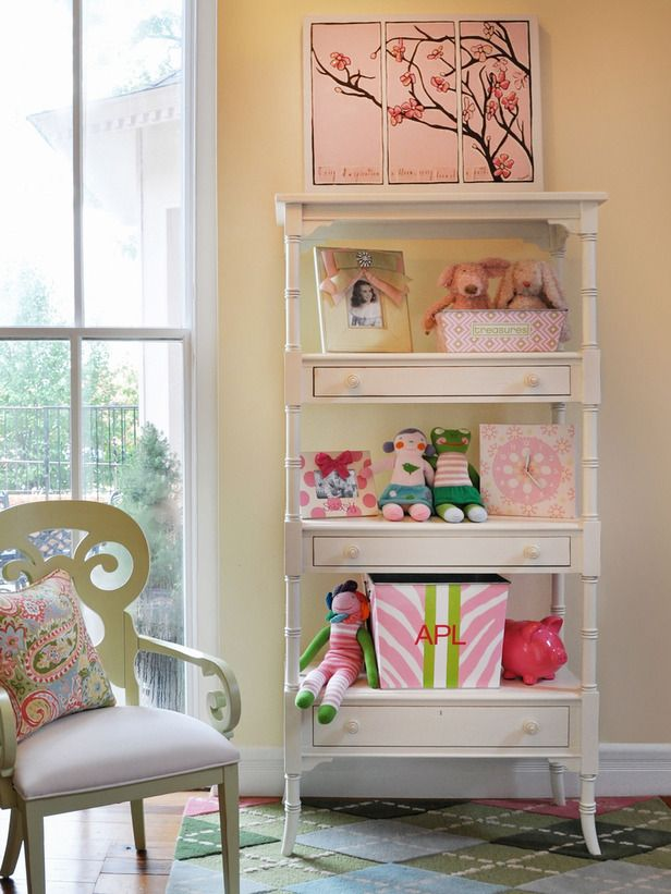 Delightful Girl Permanent Storage Bookshelf Design Idea