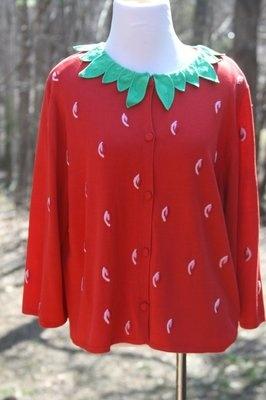 Michael Simon Red Strawberry Cardigan Sweater Size Extra Large XL | eBay