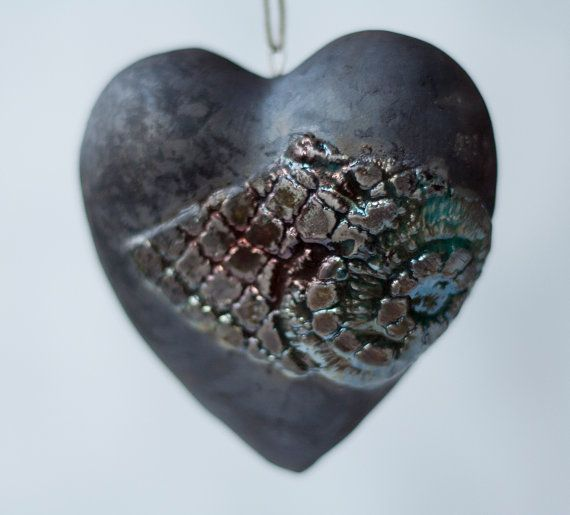Ceramic heart raku blue copper turquoise black by ClayLadyArt