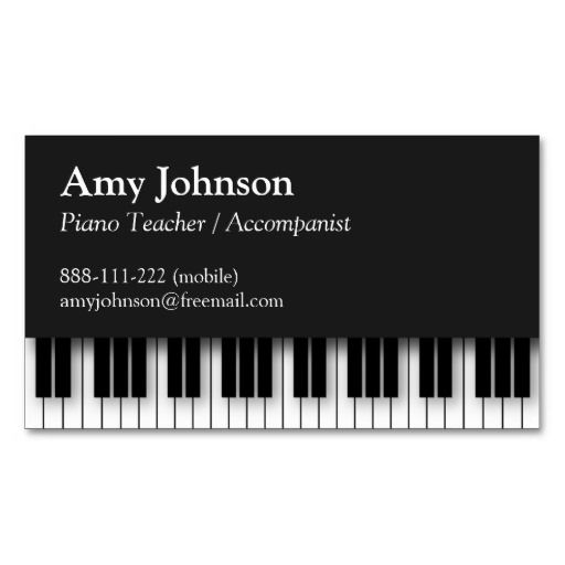 Elegant, Modern, Professional, Piano Teacher Business Card Template