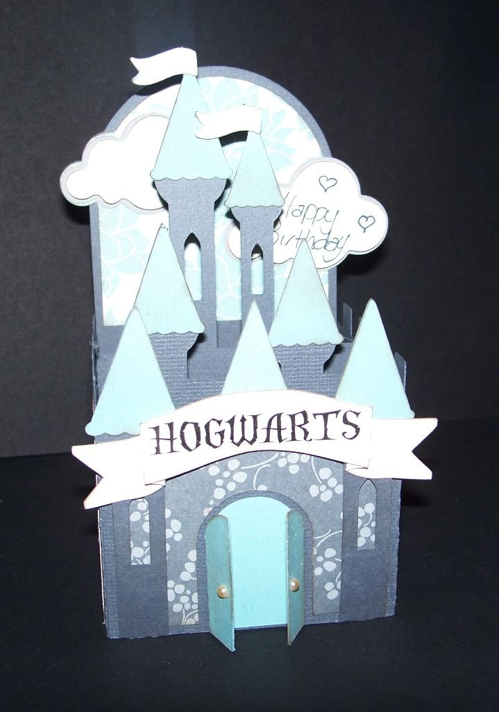 This template is from SVGCuts (Mary Kowal). Turned out great! Just added the Hogwarts Banner. Castle Card.