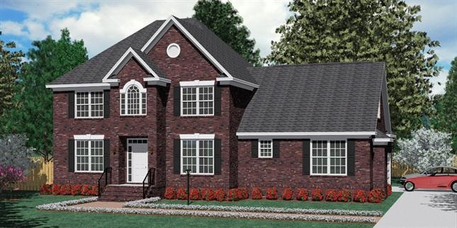 House plan 2727 a fairfield a elevation traditional 2 for 2 story brick house plans