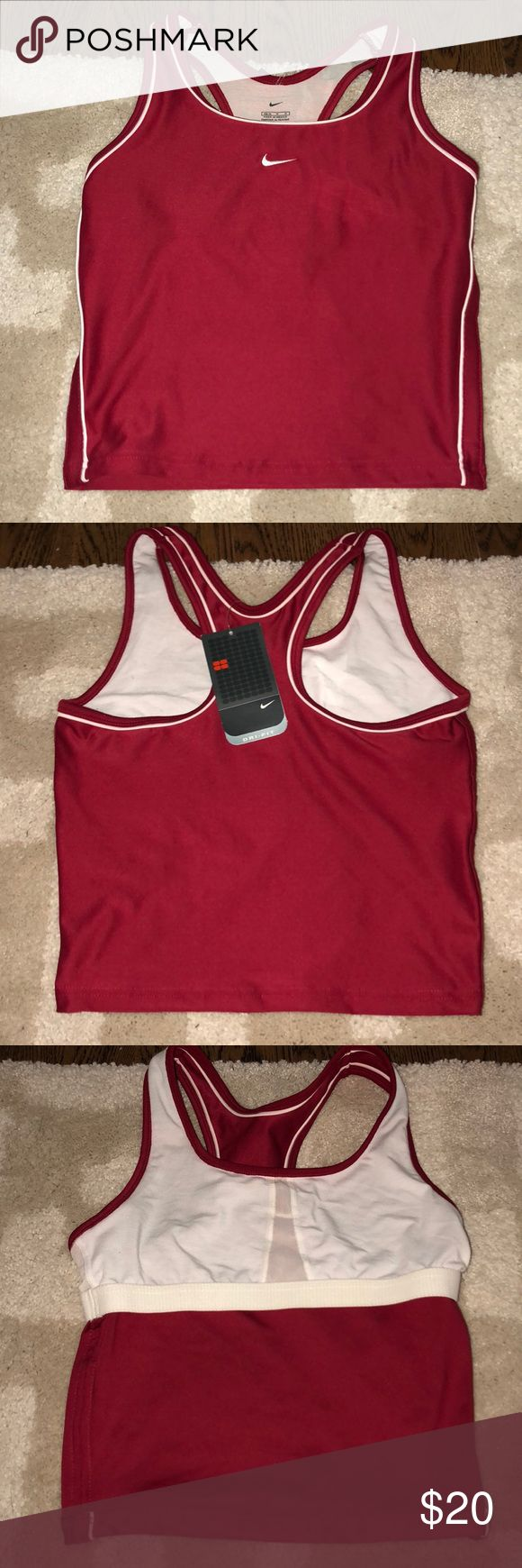 NIKE sports tank !!! size: MEDIUM fusia and white sports tank top !! super cute with built in bra, dri fit material, and very comfortable !! Tops Tank Tops