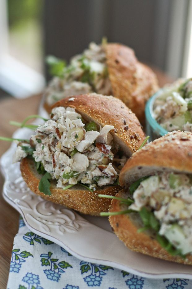 Autumn Chicken Salad with Apples and Almonds from @aggieskitchen #thinkfisher