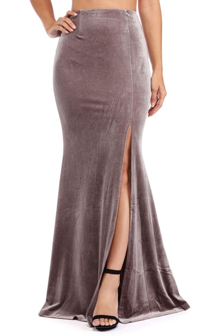 Taupe Velvet Sea Mermaid Skirt | WindsorCloud