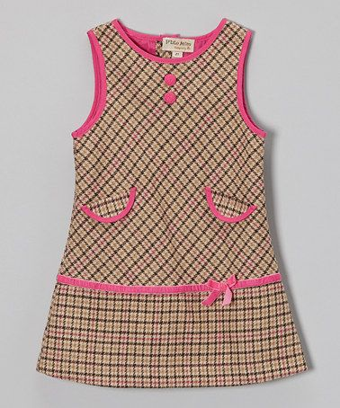 Take a look at this Beige & Pink Plaid Wool-Blend Shift Dress - Toddler & Girls by P'tite Môm on #zulily today!