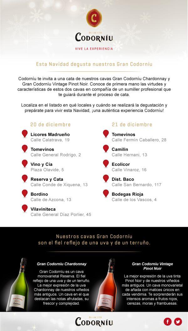 Degustación de 2 magníficos cavas de Codorniú en TomeVinos Madrid y Mirasierra