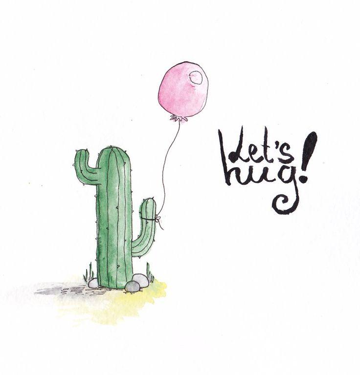 Watercolor cactus Postcard Let's hug by mariaptore