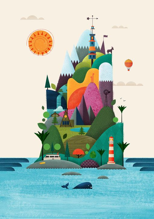 Cool illustrations by Brett King - Has most elements of NZ Culture and Landscape