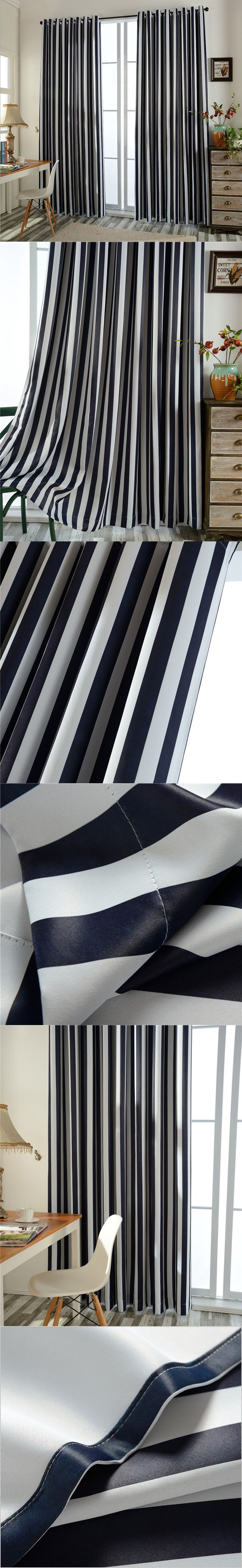 Black white striped window curtains Grommet top Bedroom Thermal Insulated Drapes Modern Decoration Blackout curtains B16105 $29.5